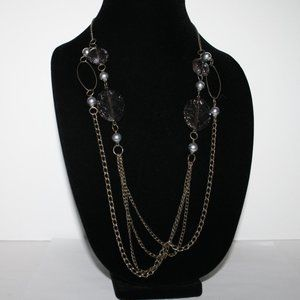 Vintagejelyfish Jewelry - Rustic bronze layered necklace with gray silver